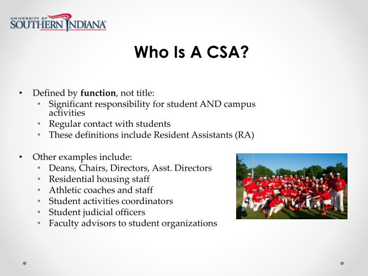 Who Is A CSA?