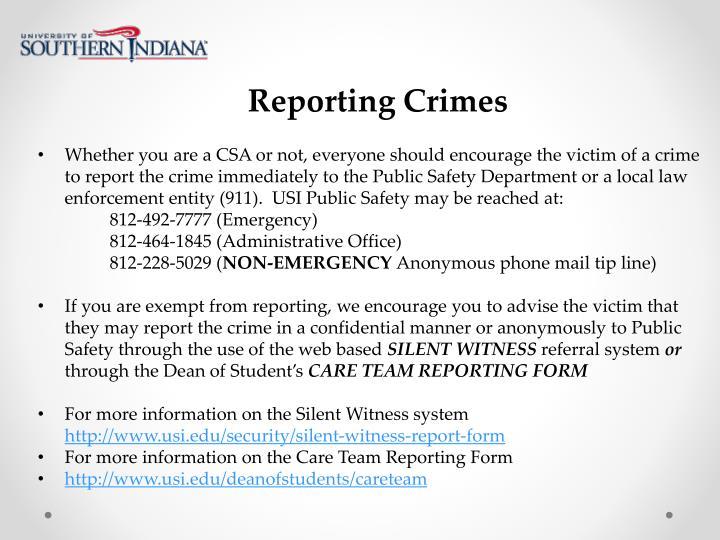 Reporting Crimes