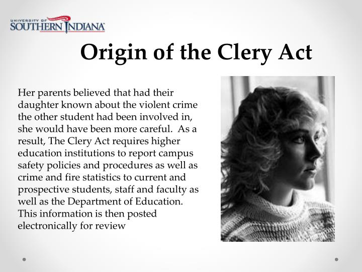 Origin of the Clery Act