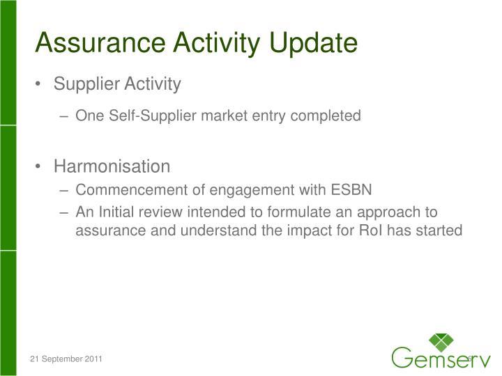 Assurance Activity Update