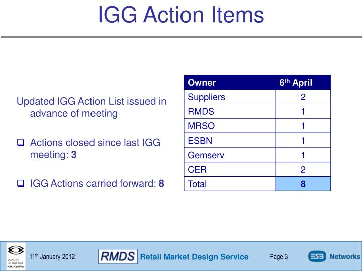 IGG Action Items