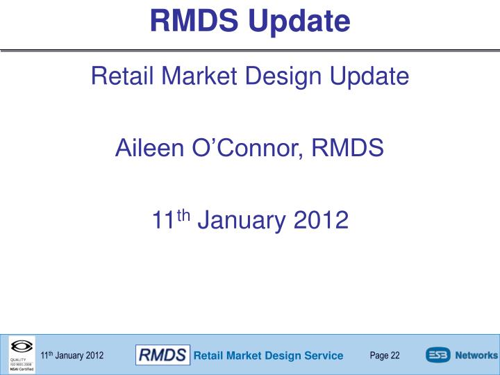 RMDS Update