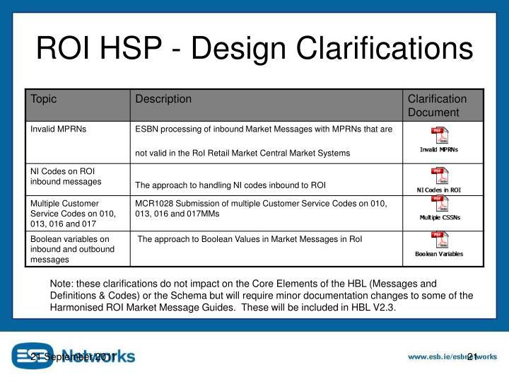 ROI HSP - Design Clarifications