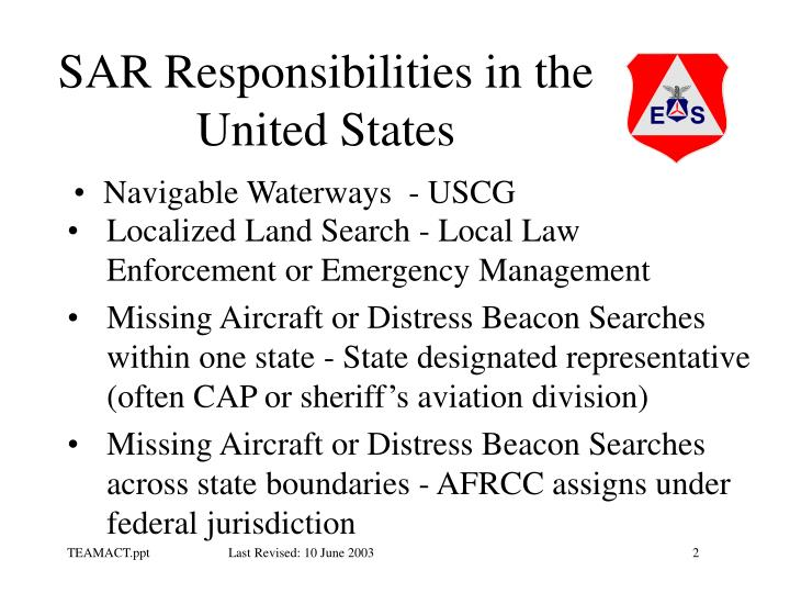SAR Responsibilities in the United States