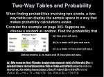 two way tables and probability