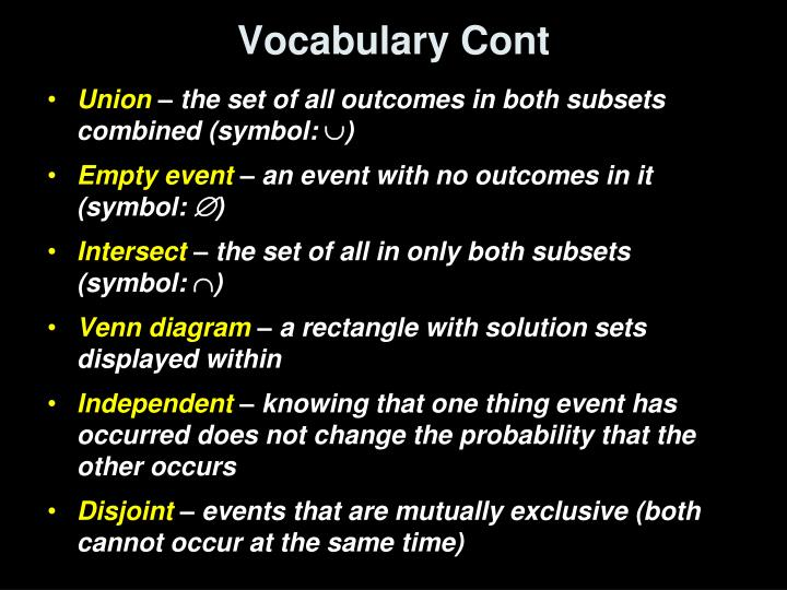 Vocabulary Cont