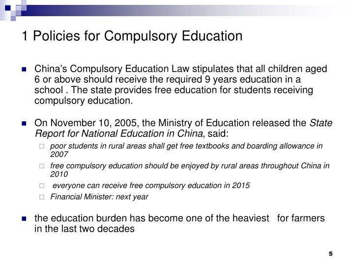 1 Policies for Compulsory Education