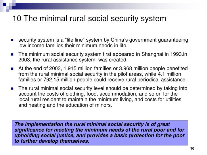 10 The minimal rural social security system