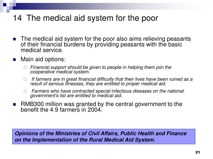 14  The medical aid system for the poor