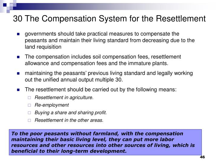 30 The Compensation System for the Resettlement