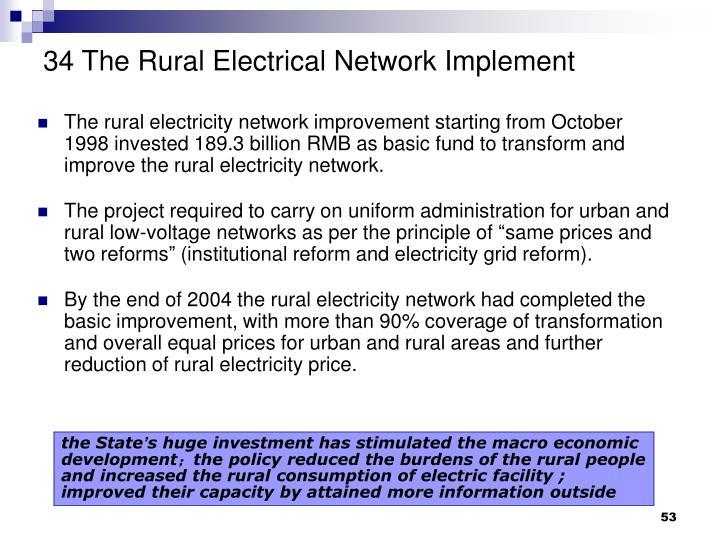 34 The Rural Electrical Network Implement