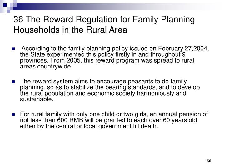 36 The Reward Regulation for Family Planning Households in the Rural Area
