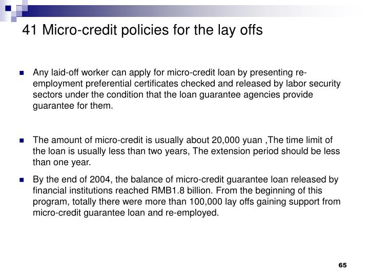 41 Micro-credit policies for the lay offs