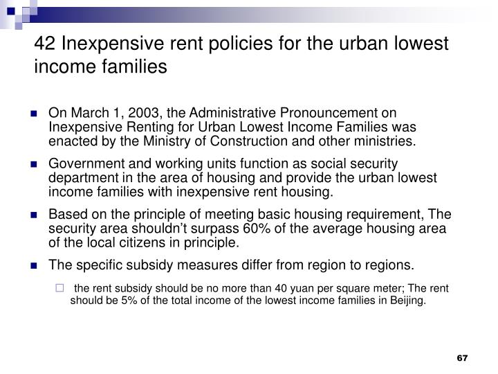 42 Inexpensive rent policies for the urban lowest income families