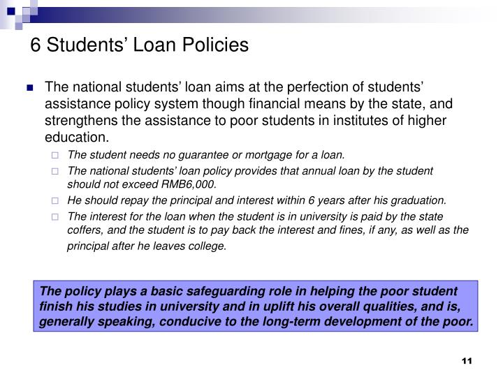 6 Students' Loan Policies