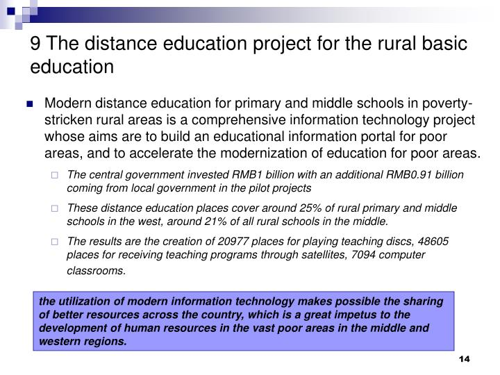 9 The distance education project for the rural basic education