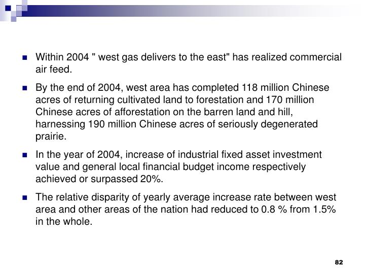 "Within 2004 "" west gas delivers to the east"" has realized commercial air feed."