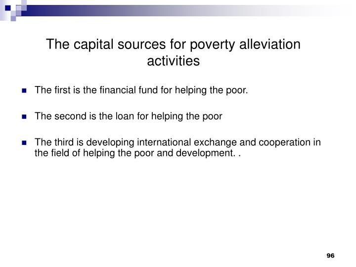 The capital sources for poverty alleviation activities