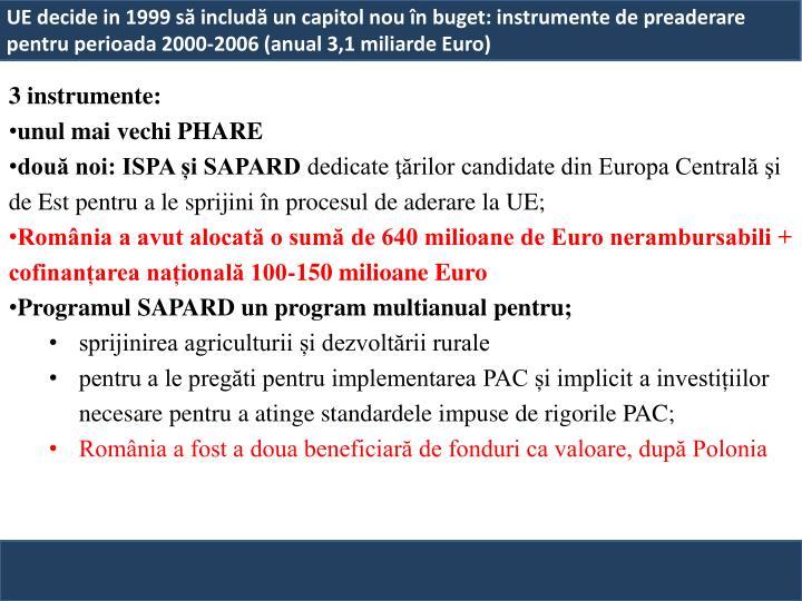 UE decide in 1999 să includă un capitol nou în buget: instrumente de preaderare pentru perioada 2000-2006 (anual 3,1 miliarde Euro)