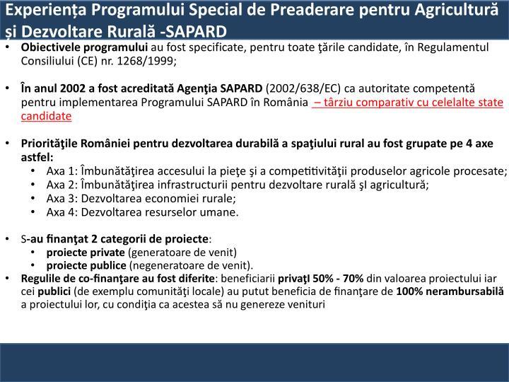 Experiența Programului Special de Preaderare pentru Agricultură și Dezvoltare Rurală -SAPARD