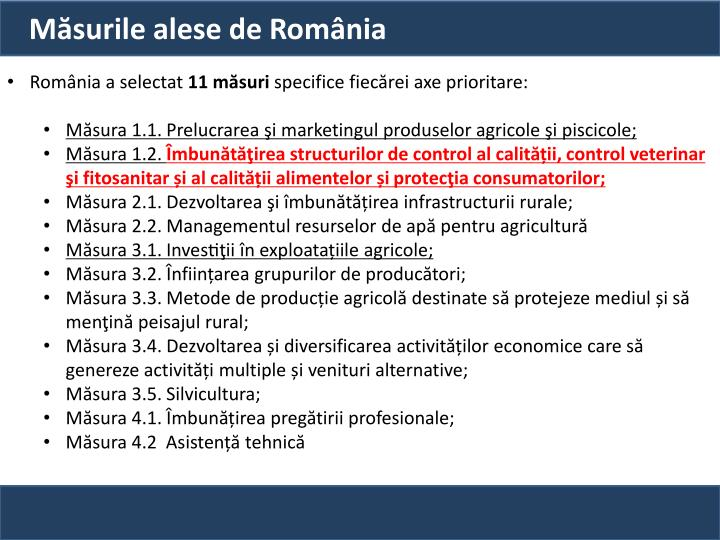 Măsurile alese de România