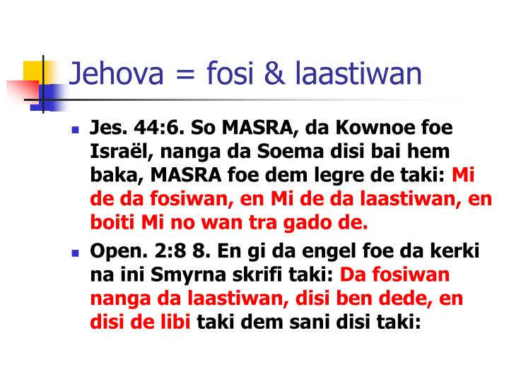 Jehova = fosi & laastiwan