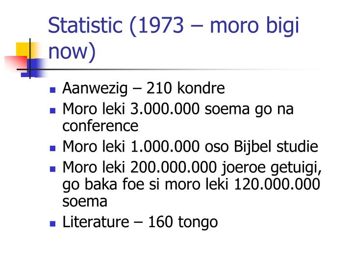 Statistic (1973 – moro bigi now)