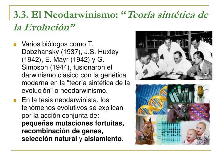 """3.3. El Neodarwinismo: """""""