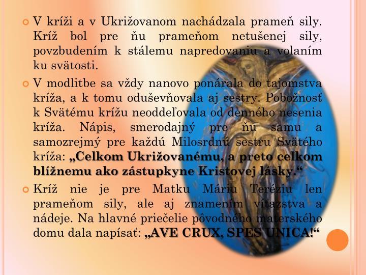 V kri a v Ukriovanom nachdzala prame sily. Kr bol pre u prameom netuenej sily, povzbudenm k stlemu napredovaniu a volanm ku svtosti.