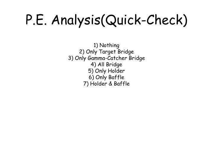 P.E. Analysis(Quick-Check)