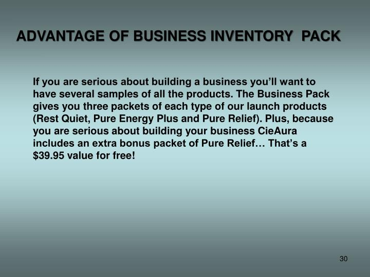 ADVANTAGE OF BUSINESS INVENTORY  PACK