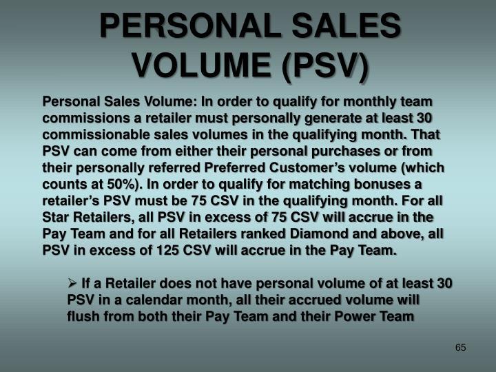 PERSONAL SALES VOLUME (PSV)