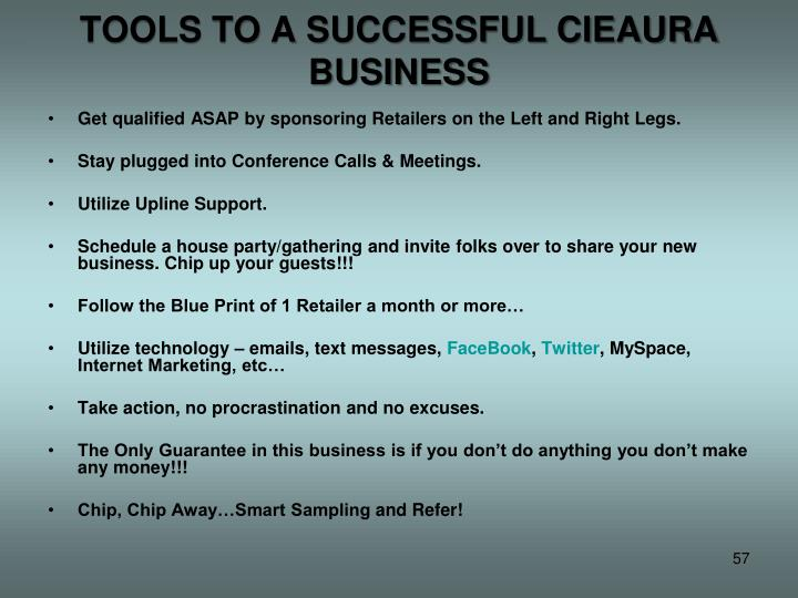 TOOLS TO A SUCCESSFUL CIEAURA BUSINESS