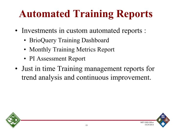 Automated Training Reports