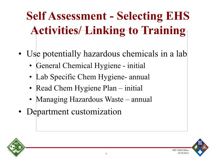 Self Assessment - Selecting EHS Activities/ Linking to Training