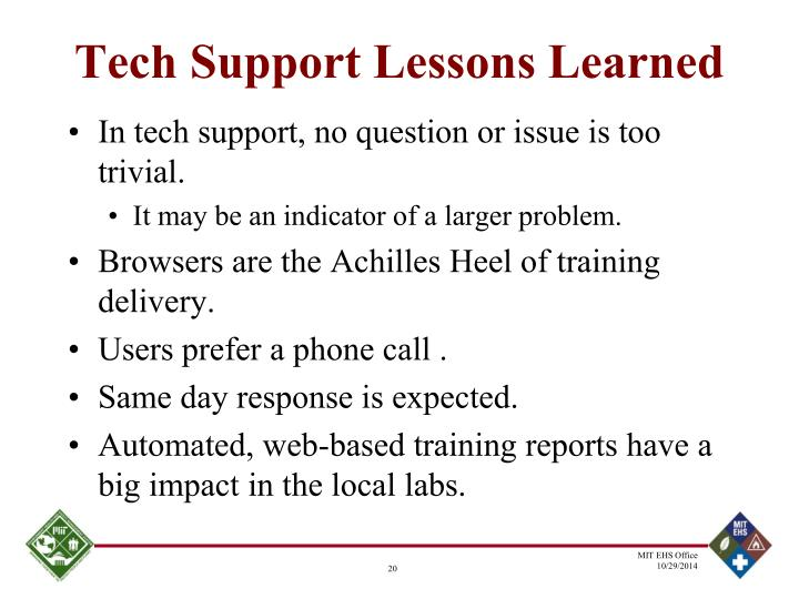 Tech Support Lessons Learned