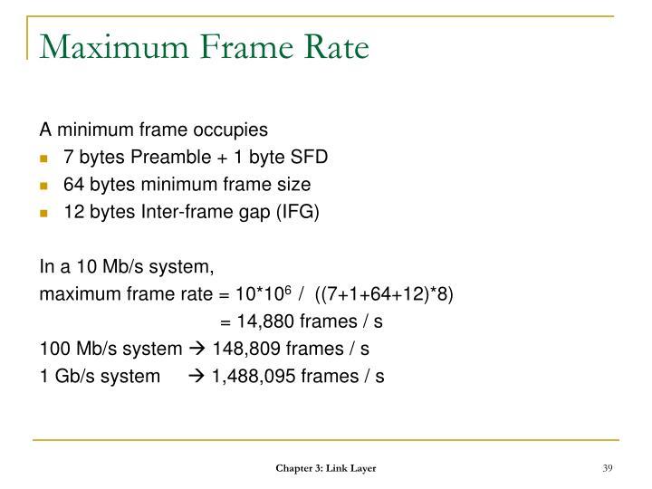 Maximum Frame Rate