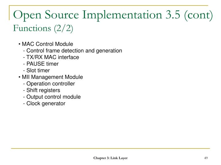 Open Source Implementation 3.5 (cont)
