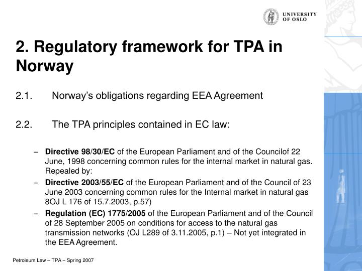 2. Regulatory framework for TPA in Norway