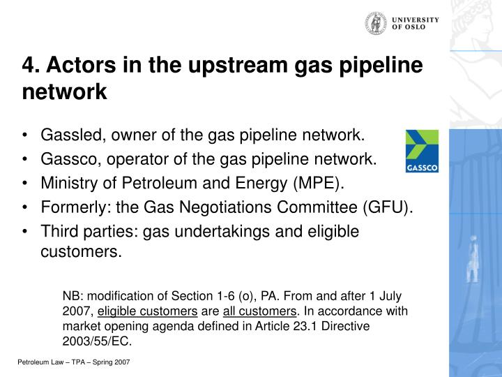 4. Actors in the upstream gas pipeline network