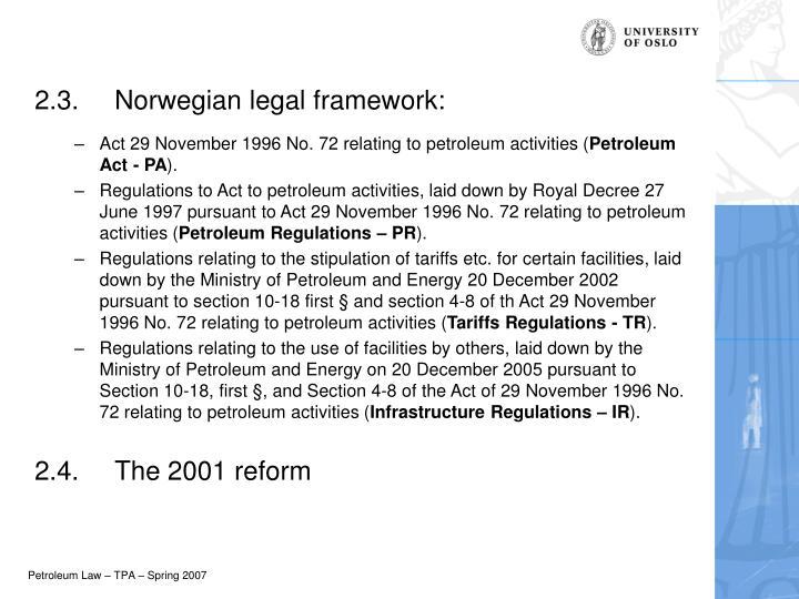 2.3.Norwegian legal framework: