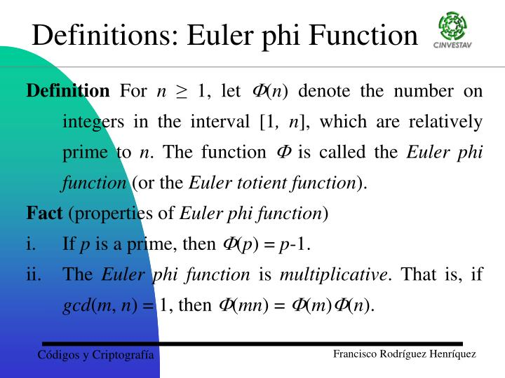 Definitions: Euler phi Function