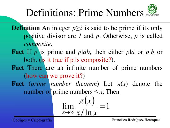 Definitions: Prime Numbers