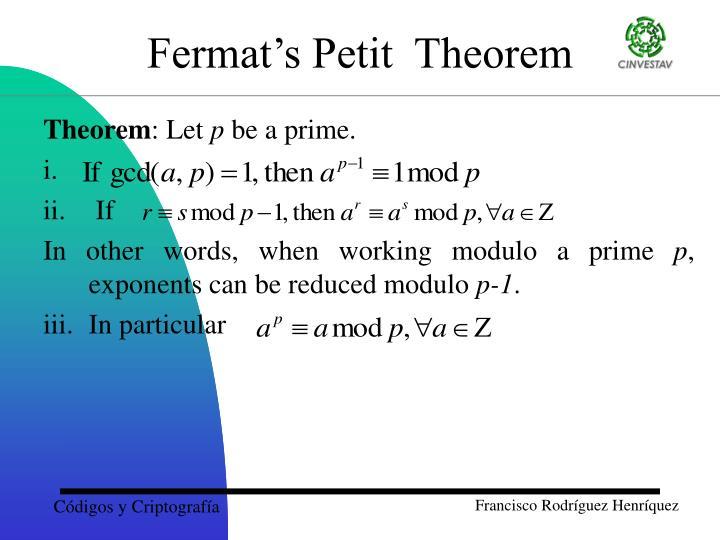 Fermat's Petit  Theorem