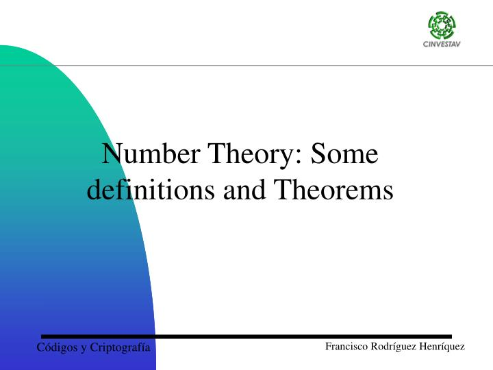 Number Theory: Some definitions and Theorems