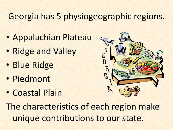 Georgia has 5 physiogeographic regions