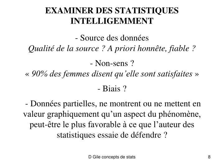 EXAMINER DES STATISTIQUES INTELLIGEMMENT