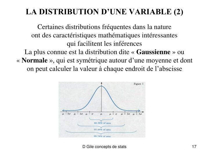 LA DISTRIBUTION D'UNE VARIABLE (2)