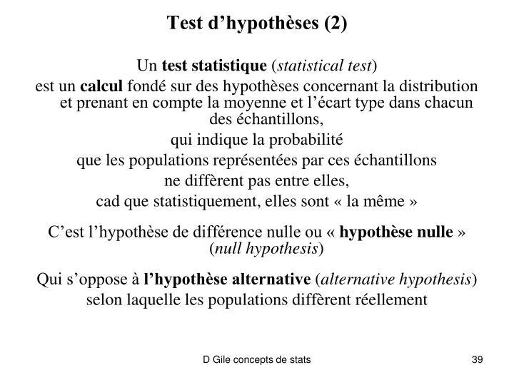 Test d'hypothèses (2)