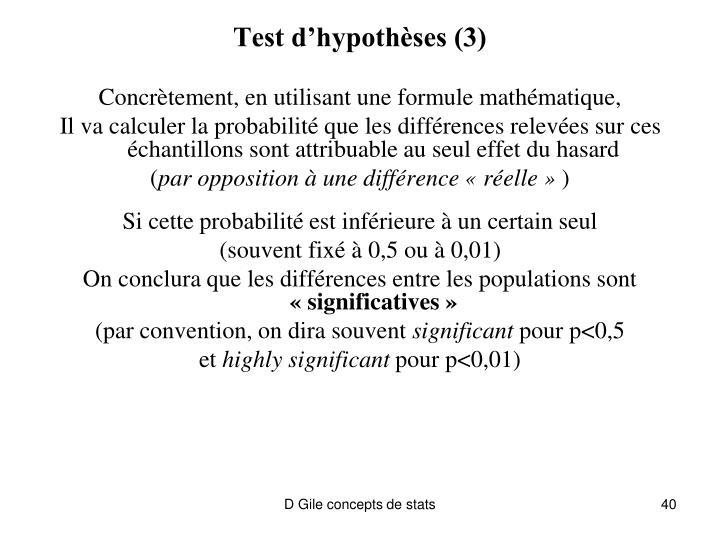 Test d'hypothèses (3)